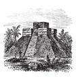 Palenque Pyramid vintage engraving vector image