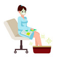 woman at spa salon sits with a magazine vector image