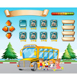 Game template with kids and schoolbus vector image