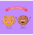 Best Friends Soft Pretzel and Chocolate Biscuit vector image