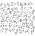 Cartoon Hands Pack Lineart 1 vector image