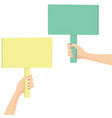 hands holding a picket sign vector image