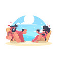 loving couple resting on beach vector image