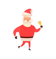 santa claus ringing bell decorated with holly vector image