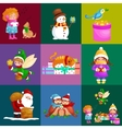 set animals winter holiday North Pole vector image