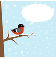 Cute winter bullfinch bird sitting vector image vector image