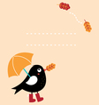Cute autumn greeting Card with cartoon Bird vector image