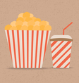 Popcorn and soda with straw vector image