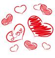 red love heart symbols grunge hand-drawn eps10 vector image