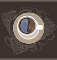 coffee mug on a plate white vector image
