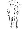 couple with an umbrella boy and girl sketch vector image