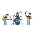 Guitarists and drums playing music three musicians vector image