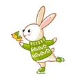 Hare in sweater skates vector image