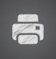 printer sketch logo doodle icon vector image