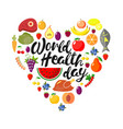 world health day concept card heart form vector image
