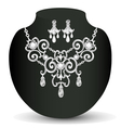 wedding necklace and earrings with white precious vector image vector image