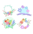 Set of flower frames and labels vector image