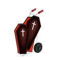 A Hand Truck Loading Two Black Coffin vector image