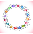 Colored gems square round frame vector image vector image