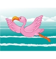 flamingo in flight vector image vector image