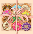 Background with gift box of donuts vector image