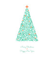 christmas tree circles xmas greeting card vector image