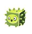 Cute fantastic green plant character square shape vector image