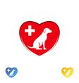 logo dog in the heart dog logo abstract design vector image