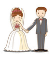 wedding couple holding hand cartoon vector image