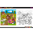 farm animals coloring book vector image