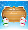 Christmas snowman and snowgirl wooden sign with vector image