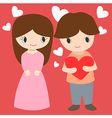 Cute Boy And Girl With Hearts Background For vector image vector image