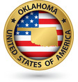 Oklahoma state gold label with state map vector image