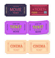 set of movie cinema tickets admit one icons vector image