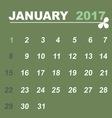 Simple calendar template of january 2017 vector image