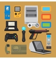 Vintage digital entertainment flat icons vector image