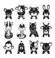 Twelve Animals Chinese Zodiac Signs Icons Set vector image