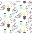 sketch line fruit salad seamless pattern vector image