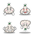 garlic cartoon character set collection vector image