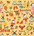 seamless background with symbols of spain vector image
