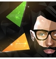 With man face in polygonal style modern poster vector image