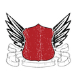 emblem with shield and wings vector image vector image