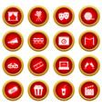 cinema icon red circle set vector image