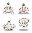 garlic cartoon character set collection vector image