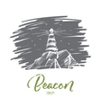 Hand drawn beacon lighting at night lettering vector image