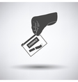 Hand holding evidence pocket icon vector image