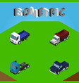 isometric car set of lorry suv truck and other vector image