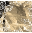 Old canvas with paint with floral pattern vector image