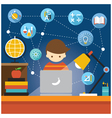 Student with Laptop Computer Education Icons vector image
