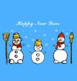 three snowmen its snowing snowflakes winter hand vector image